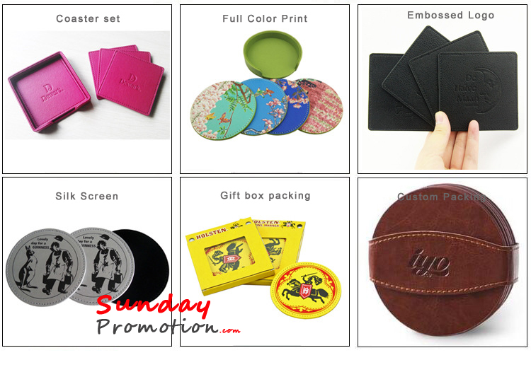 Brown Leather Coasters Blanks for Promotion Real Leather Coasters 9cm