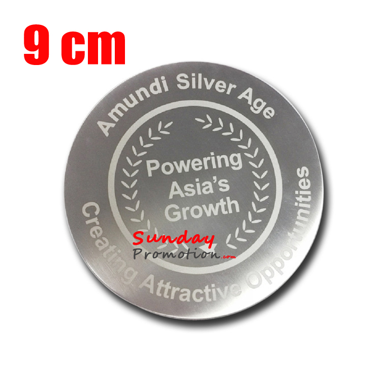 embossed logo silver metal plate coaster customized for promotion gifts
