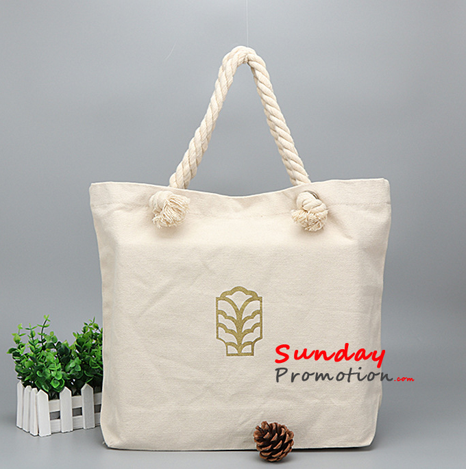Promotional Canvas Tote Bags Bulk Rope Handle 46 40cm 12 Oz