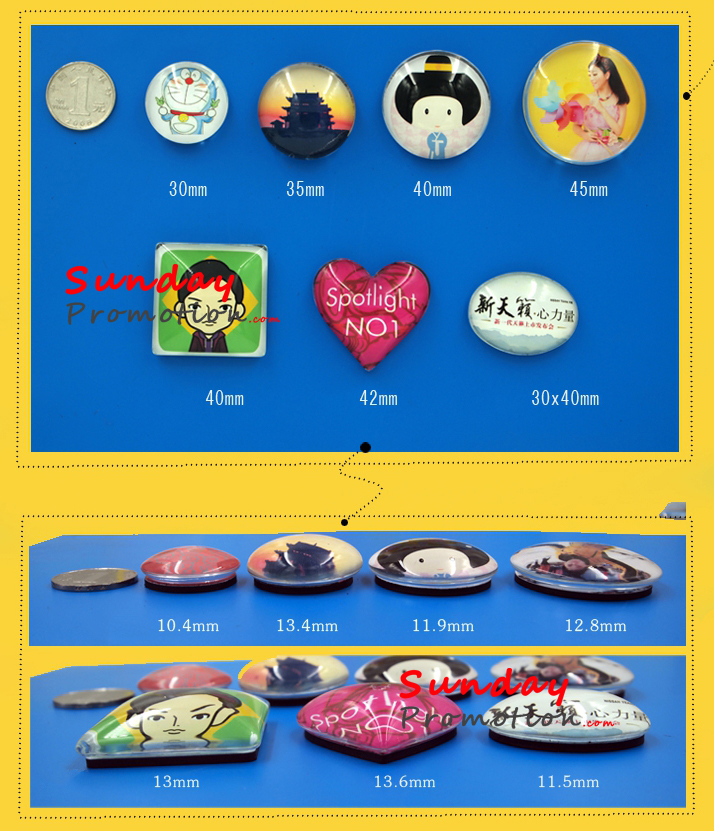 Custom Glass Fridge Magnet Cheap Price from Factory 4.5cm
