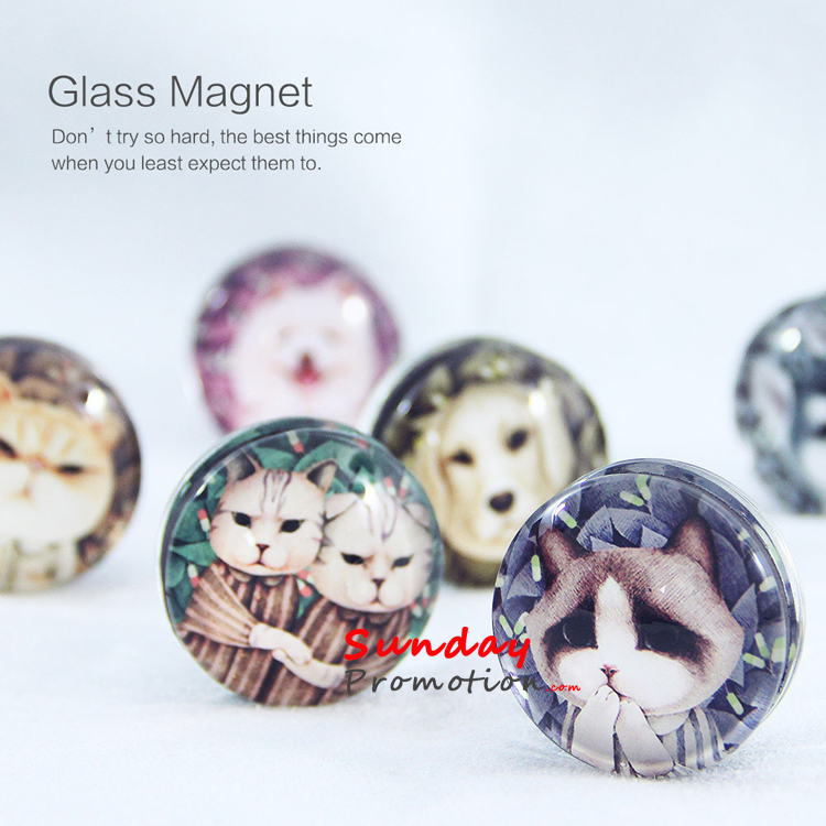 Custom Clear Glass Fridge Magnet for Promotion Gifts 3.5cm