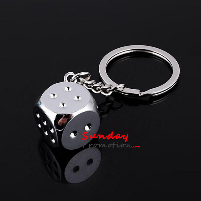 Custom Metal Dice Keychain for Promotion Personalized Key Ring for Gifts