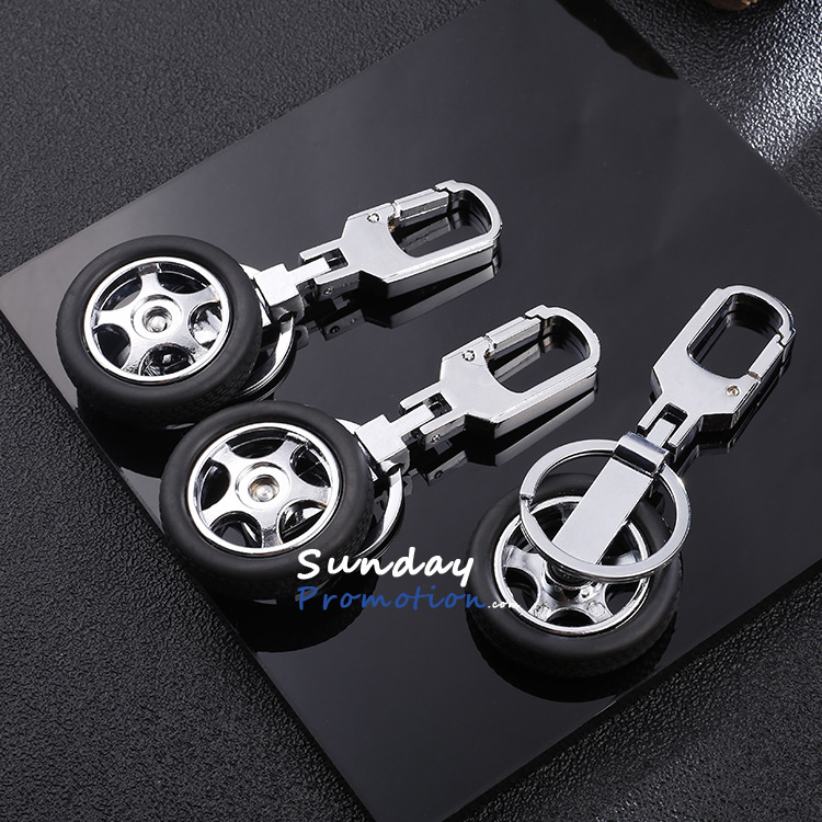Custom Tyre Keychain With Engrave Logo Promotional Car Tire Key Tag Metal