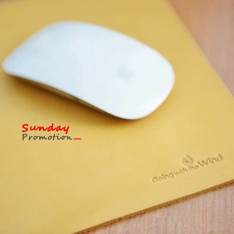 Custom Leather Mouse Pad with Debossed Logo for Promotion Gifts