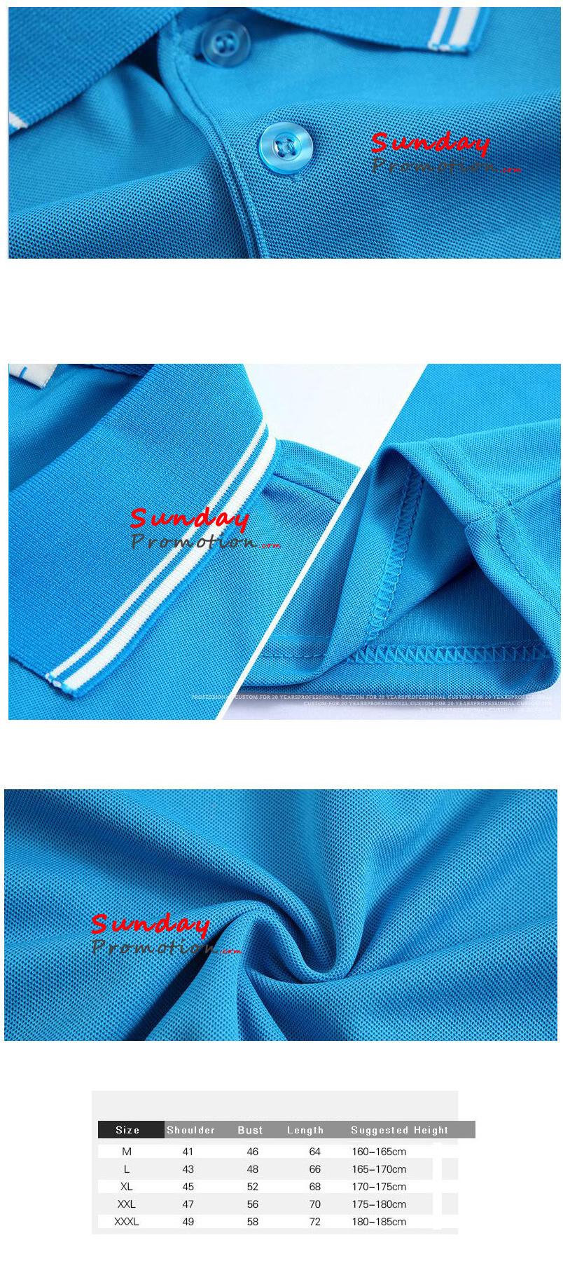 Logo Print Custom Promotional Polo Shirts 77 Oz Ice Cotton