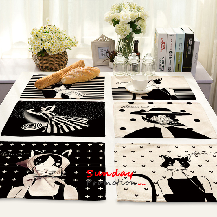 Wholesale Black and White Placemats UK Online Modern Cat Design