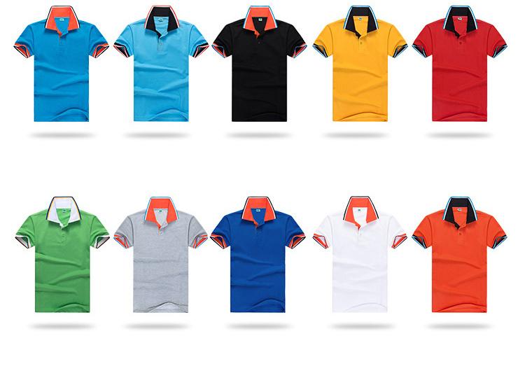 65 Cotton Color Collar Custom Logo Polo Shirts